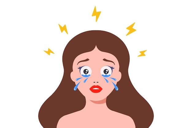 うつ病で泣いている女性。涙でいっぱいの目。フラット文字ベクトルイラスト。
