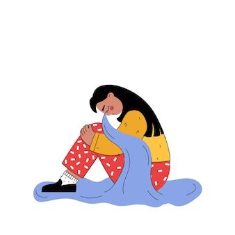 Женщина плачет на полу в плоском мультяшном стиле.
