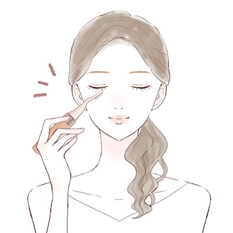 Woman curling lashes with hot buehler. on a white background.