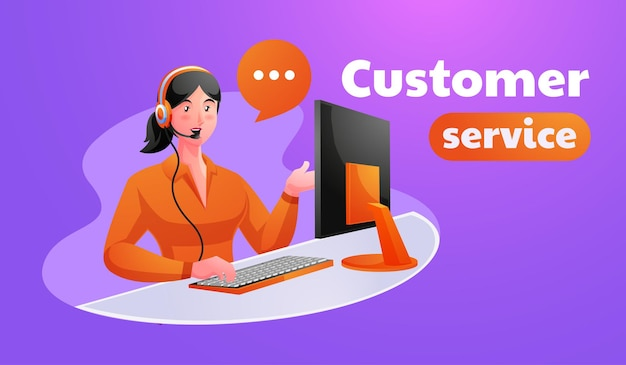 Woman customer support executive working in office