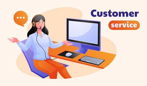 Woman customer support working in office