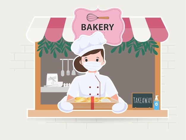 Woman cute at bakery shop character