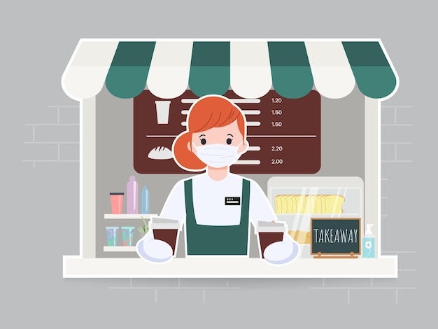 Woman cute at cafe and coffee shop character