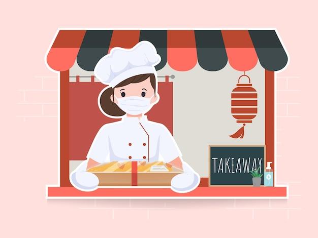 Женщина милый повар азиатской кухни готовит характер