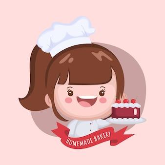 Симпатичный повар женщина готовит торт