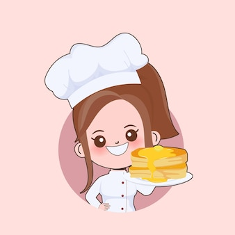 Woman cute chef is cooking character