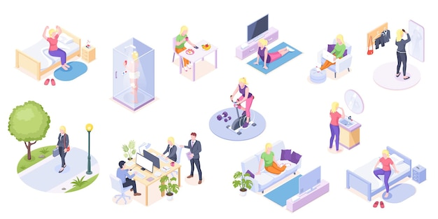 Woman daily life home routine and work everyday activity isometric icons woman daily life at