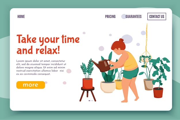 Woman daily routine flat illustration for website landing page with female character watering flowers with links