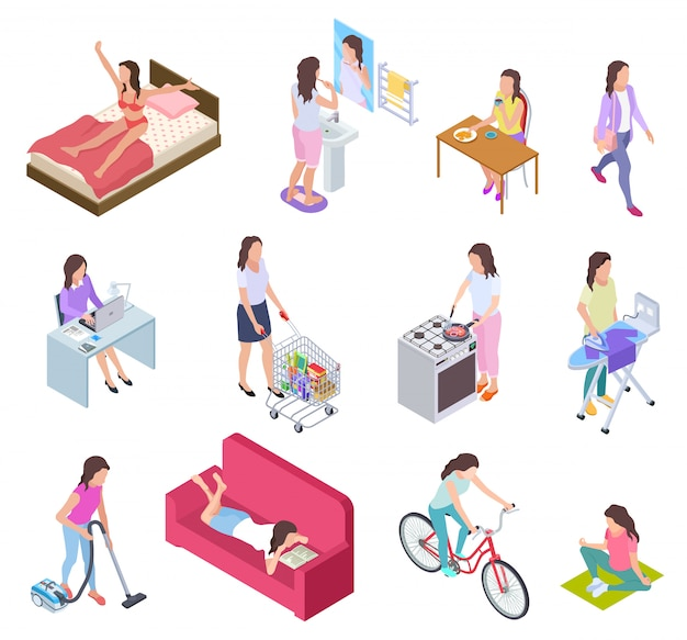 Woman daily routine. housewife ironing and shopping, doing fitness and cooking. female everyday lifestyle isometric vector characters