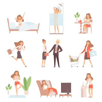 Woman daily routine. lifetime of mother business lady breakfast working relax time office home vector characters