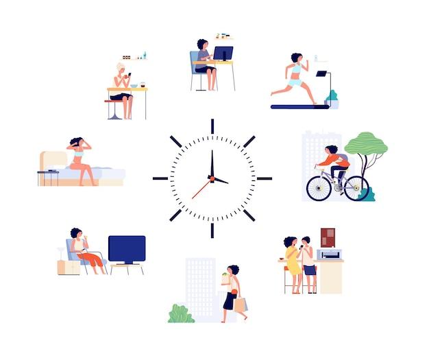 Ежедневный график женщины. женские занятия каждый день, разные жизненные ситуации и часы. девушка просыпается, пить кофе и встречаться с другом векторные иллюстрации. ежедневный график женщины, офис дома