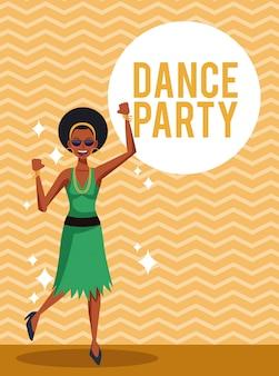 ストライプの背景上の女性のダンスパーティーカード