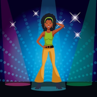 Woman dance party card over striped background