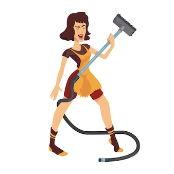 Woman dancing and cleaning room flat cartoon . leo zodiac sign girl. ready to use 2d character template for commercial, animation, printing design. isolated comic hero