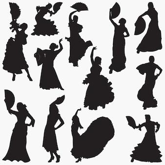 Woman dancing flamenco silhouettes