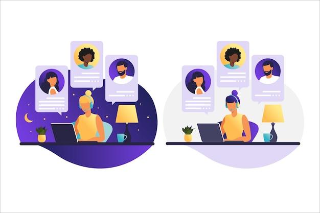 コンピューターで働く昼と夜の女性。同僚や友人と話しているコンピューター画面上の人々。イラストコンセプトのビデオ会議、オンライン会議、または在宅勤務。
