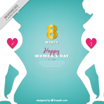 Woman day background with silhouettes of pregnant women