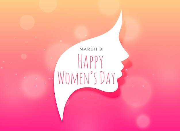 Woman day bokeh background with silhouette