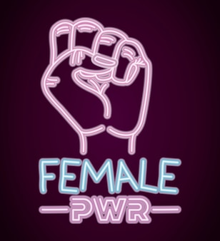 Woman day neon label with hand fist