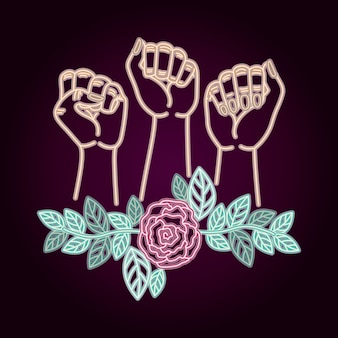 Woman day neon label with hands fist and roses