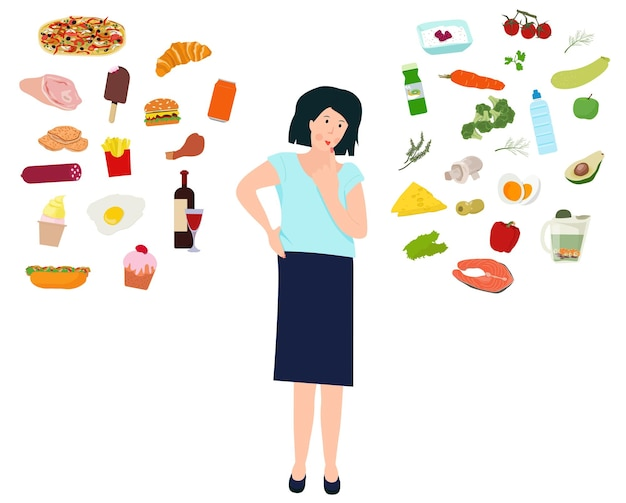 A woman decides for herself what to eat. the choice between unhealthy and healthy food. vector