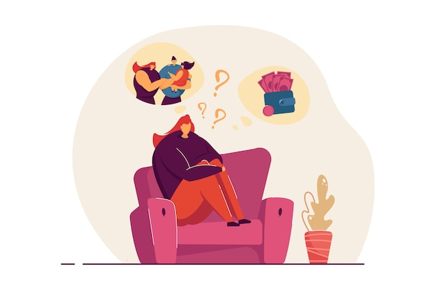 가족과 직업 사이에서 결정하는 여성. 그녀의 인생을 사는 방법에 대해 생각하는 소파에 앉아 여성. 어려운 선택, 딜레마, 균형 검색, 웹 사이트 또는 방문 페이지에 대한 의사 결정 개념.