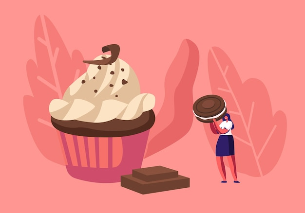 여자는 초콜릿, 크림 및 쿠키와 함께 축제 컵 케이크를 장식합니다. 만화 평면 그림