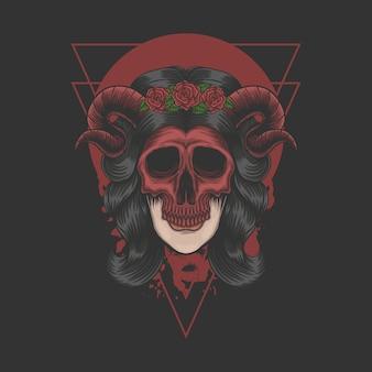 회사 또는 브랜드에 대한 여성 악마 마스크