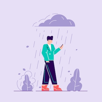 Woman in depression. sad character standing under the rain. overcast weather
