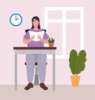 Woman at desk reading book at home design of activity and leisure