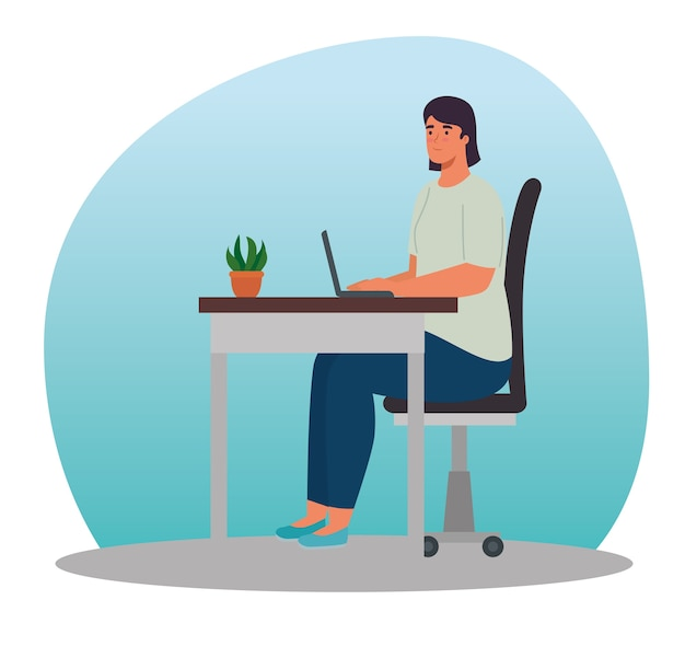 Woman at desk with laptop at home design of activity and leisure