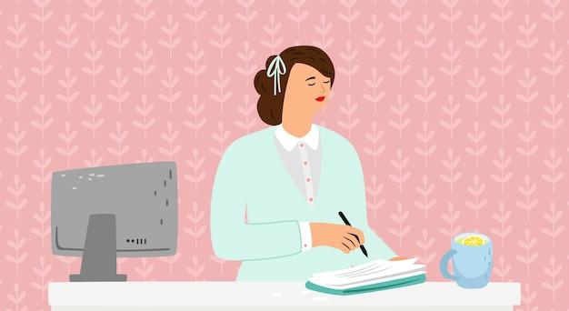 Женский дневник. девушка пишет на бумажной книге в комнате. сделайте воспоминания, рисунок женского персонажа или концепцию обучения вектор