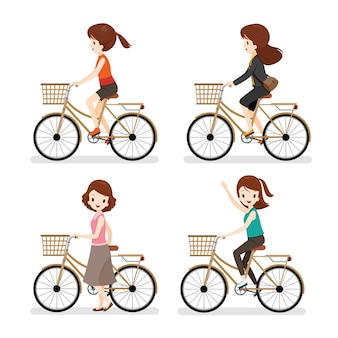 Woman of diffent ages riding bicycle with different actions