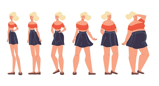 Woman different body form shape change, weight, diet effect. female figure type set.