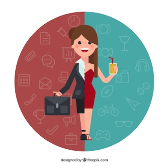 Woman in different situations Free Vector