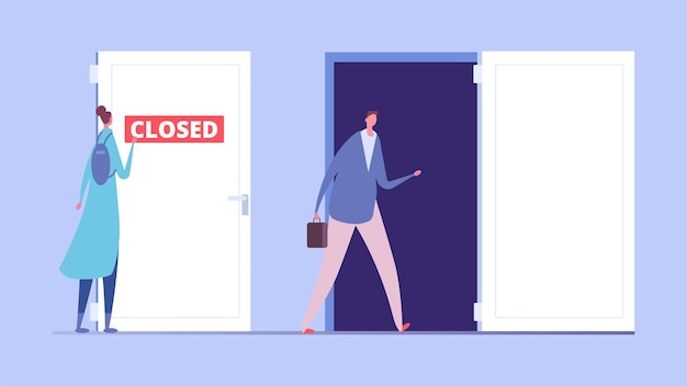 여성 차별 개념. 비즈니스 차별, 문이 닫히고 열린 남성과 여성의 평면 캐릭터