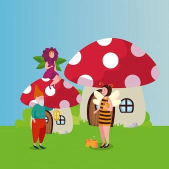 Женщина замаскированная пчела и персонажи в сцене сказки