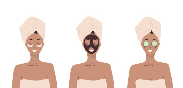 여자는 얼굴 피부에 대한 화장품 스파 절차를 수행합니다. 아침 루틴. 목욕 시간.