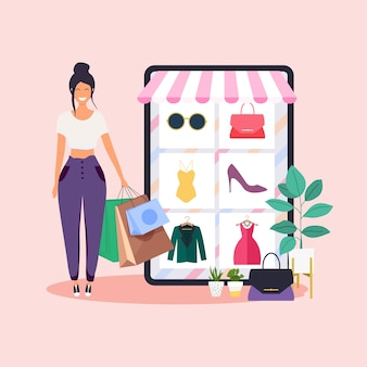 女性はオンラインショッピングをします。