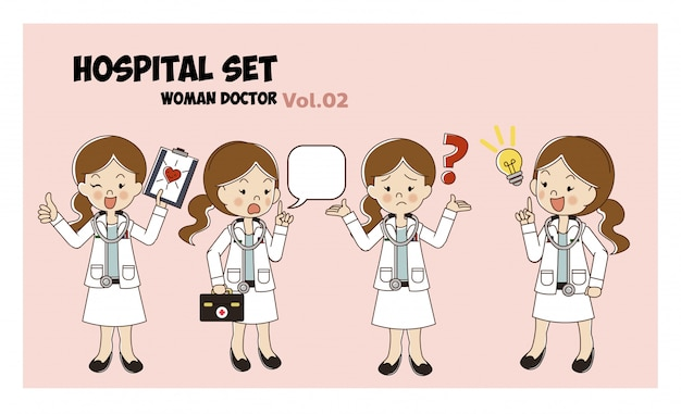 Woman doctor cartoon style set. illustration isolated. hospital set. medical activities.