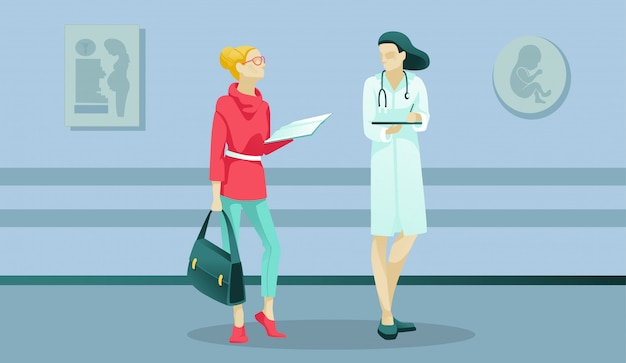 Woman and doctor characters in maternity clinic