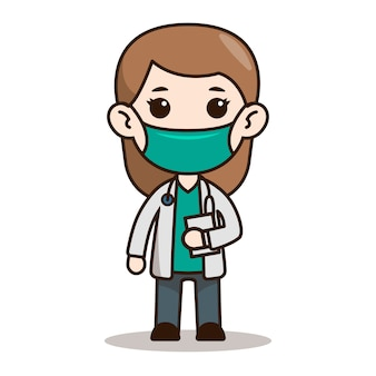 Woman doctor chibi character design with mask