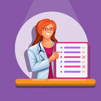 Woman doctor holding list board symbol for personal assistance information illustration vector
