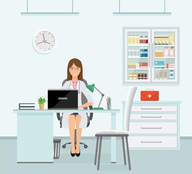 医者のオフィスに座っている制服を着た女医。薬とテーブルとキャビネットと医療相談室のインテリア。クリニックで患者を待っている薬従業員のキャラクター。図。
