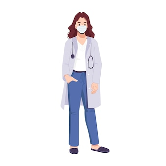 Woman doctor in mask wearing surgical medical uniform and stethoscope cartoon character working