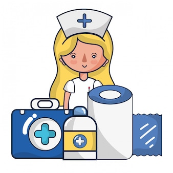 Woman doctor and medical cartoons