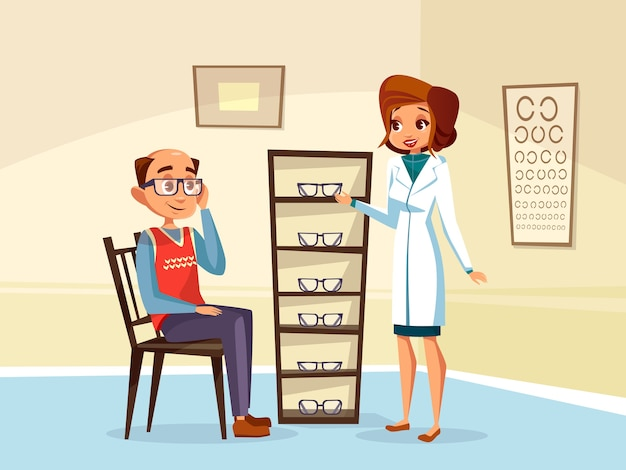 Woman doctor ophthalmologist helps adult man patient with diopters glasses selection.