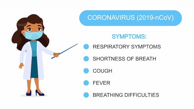 Woman doctor shows a list of coronavirus symptoms. character with a respiratory mask on her face. virus protection infographics. vector illustration on a white background.