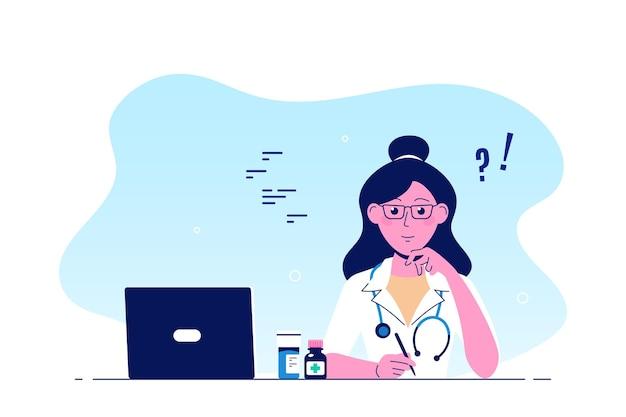 사무실 테이블에 앉아 여자 의사