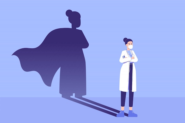Woman doctor standing confidently and superhero shadow appears behind on the wall